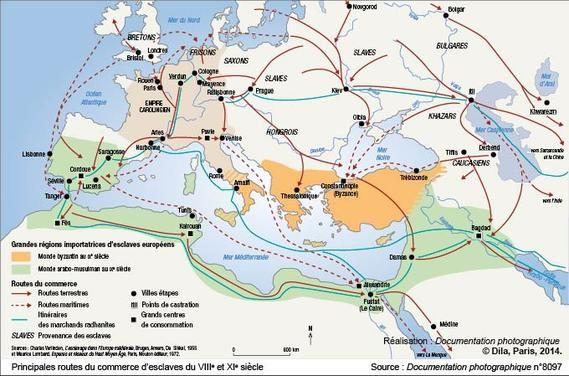 Principales Routes Du Commerce D Esclaves Du Viiie Et Xie Siecle Histoire Islam Histoire Medievale Cartographie