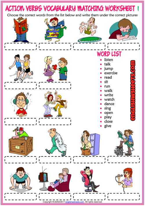 Action Verbs Vocabulary Matching Exercise ESL Worksheets Action Verbs  Worksheet, Action Verbs, Verb Worksheets