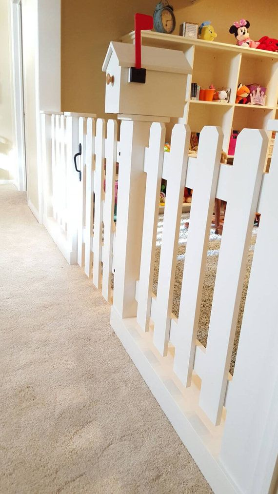 Baby gate playroom picket fence room by speckcustomwoodwork ...