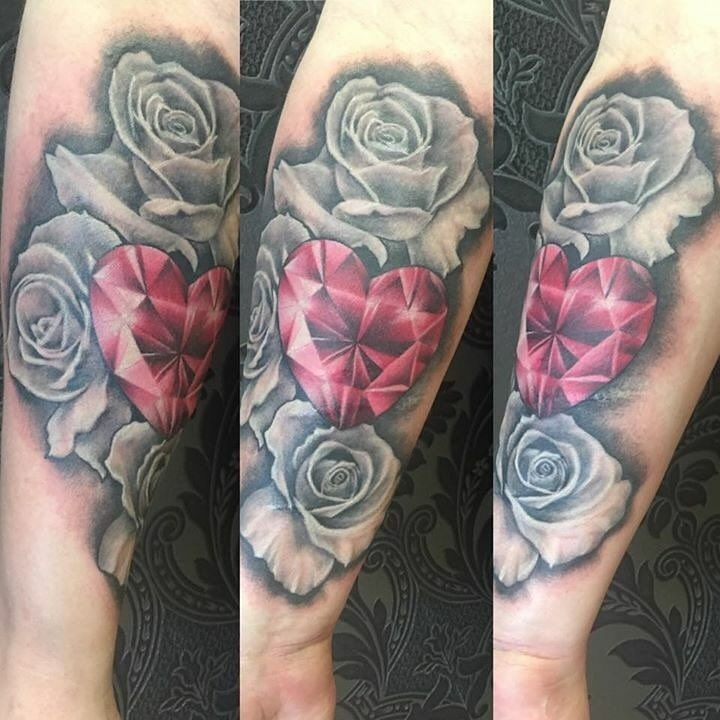 my roses and jewel tattoo black and grey tattoo gem