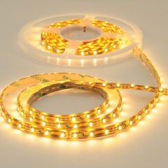 LED tape is a flexible circuit board with attached LED chips that can be cut to size. The chips are dots of light spaced approximately every 5/8 inch; they come in different levels of brightness. The strips have a self-adhesive backing, making them easy to install almost anywhere.