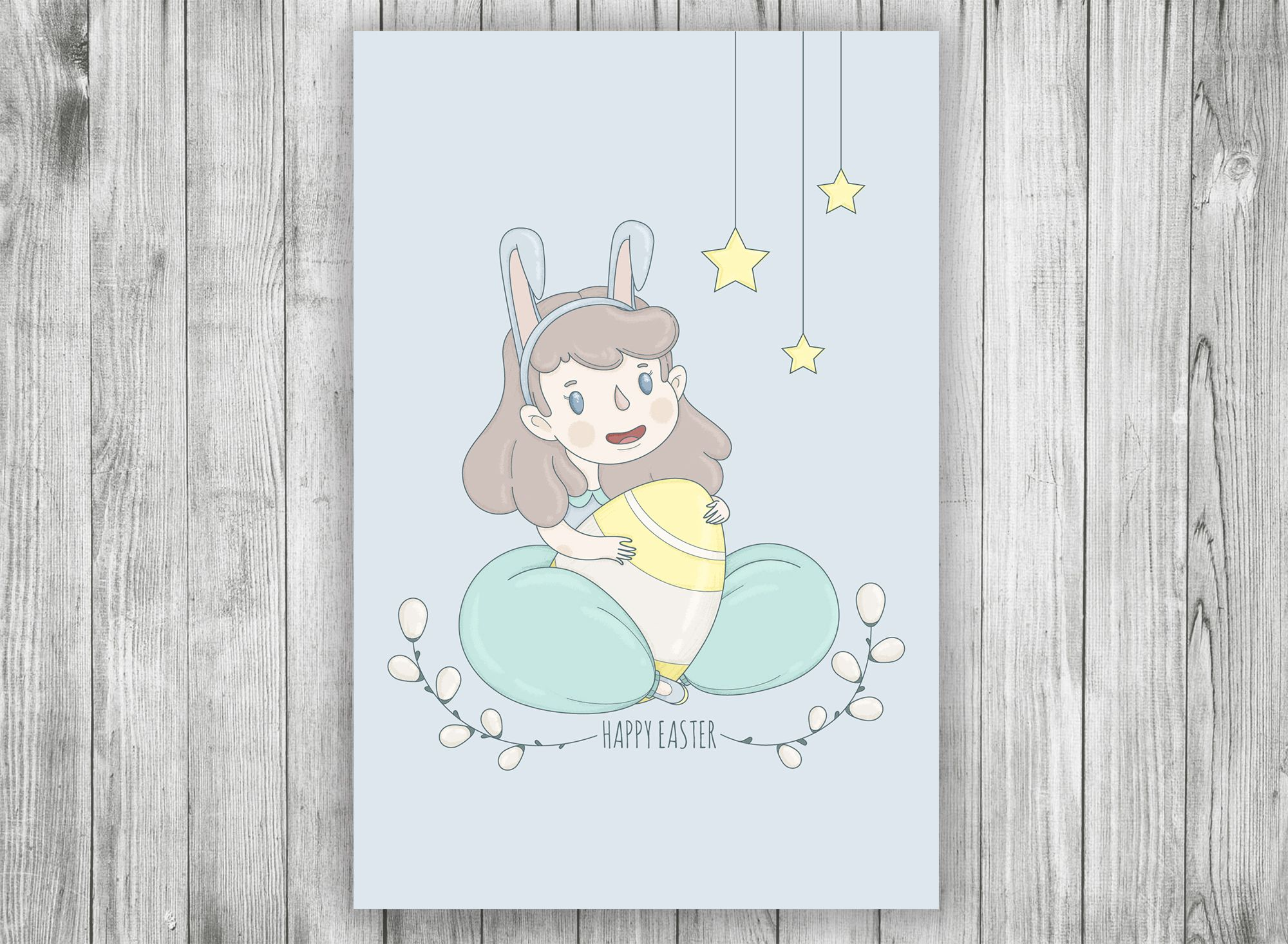 Cute printable easter postcard with bunnygirl this card