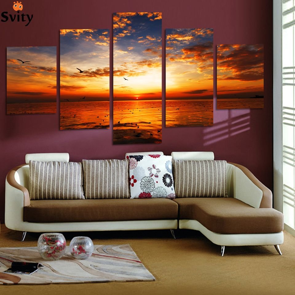 5 pieces Unframed Wall Art Picture Gift Home Decoration Canvas Print painting beautiful sea Sunset wholesale & 5 pieces Unframed Wall Art Picture Gift Home Decoration Canvas Print ...