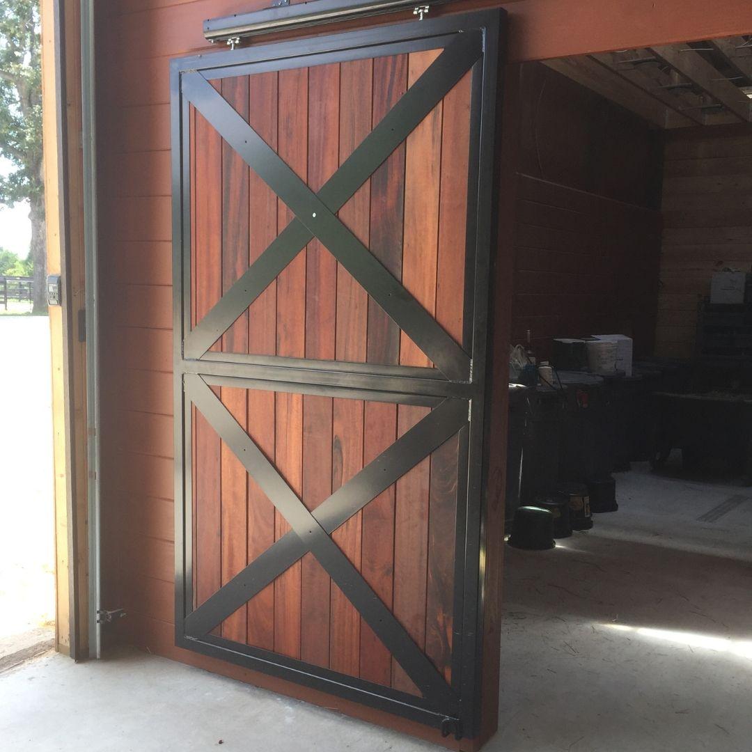 Featured Sliding Full Wood Barn End Door With Crossbucks