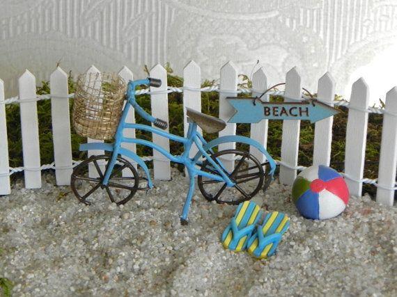accesorios de jardn de hadas playa bicicleta bicicleta jardn miniatura playa jardn miniatura miniaturas jardn de bicicleta azul bola de playa