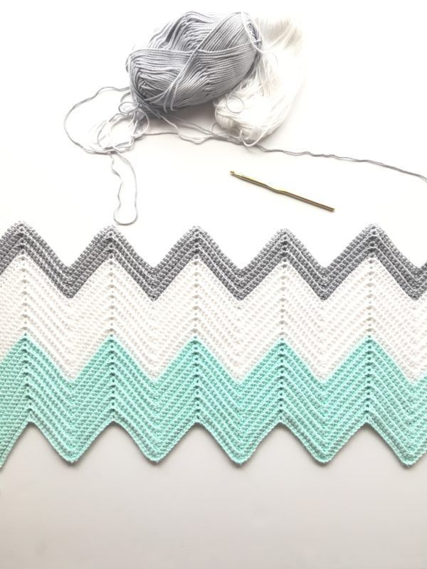 Crochet Chevron Blanket in Mint, Dove, and White - Daisy Farm Crafts ...