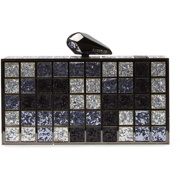 Kotur Women's Rene Glitter Clutch - Grey (395 AUD) ❤ liked on Polyvore featuring bags, handbags, clutches, grey, kotur, chain-strap handbags, kotur clutches, kotur handbags and chain strap purse
