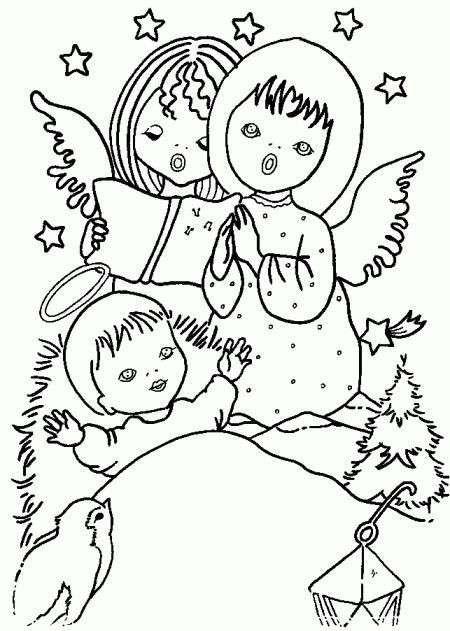 disegni da colorare di angeli natalizi