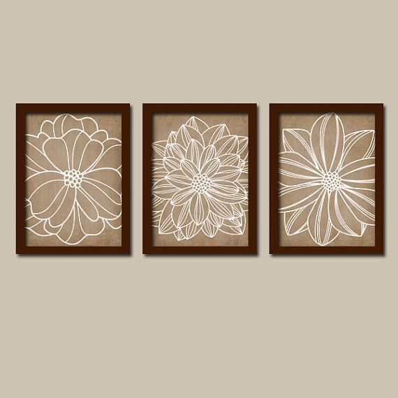 Light Blue Bathroom Wall Art Canvas Or Prints Blue Bedroom: Flower WALL ART, Flower Artwork Canvas Or Print Brown