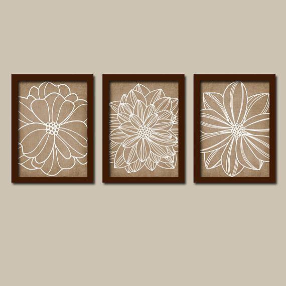 Wall Art Canvas Or Prints Brown Beige Bathroom Pictures Home Decor Beige Brown Bedroom Artwork Dahlia Flower Outline Set Of 3 Home Decor