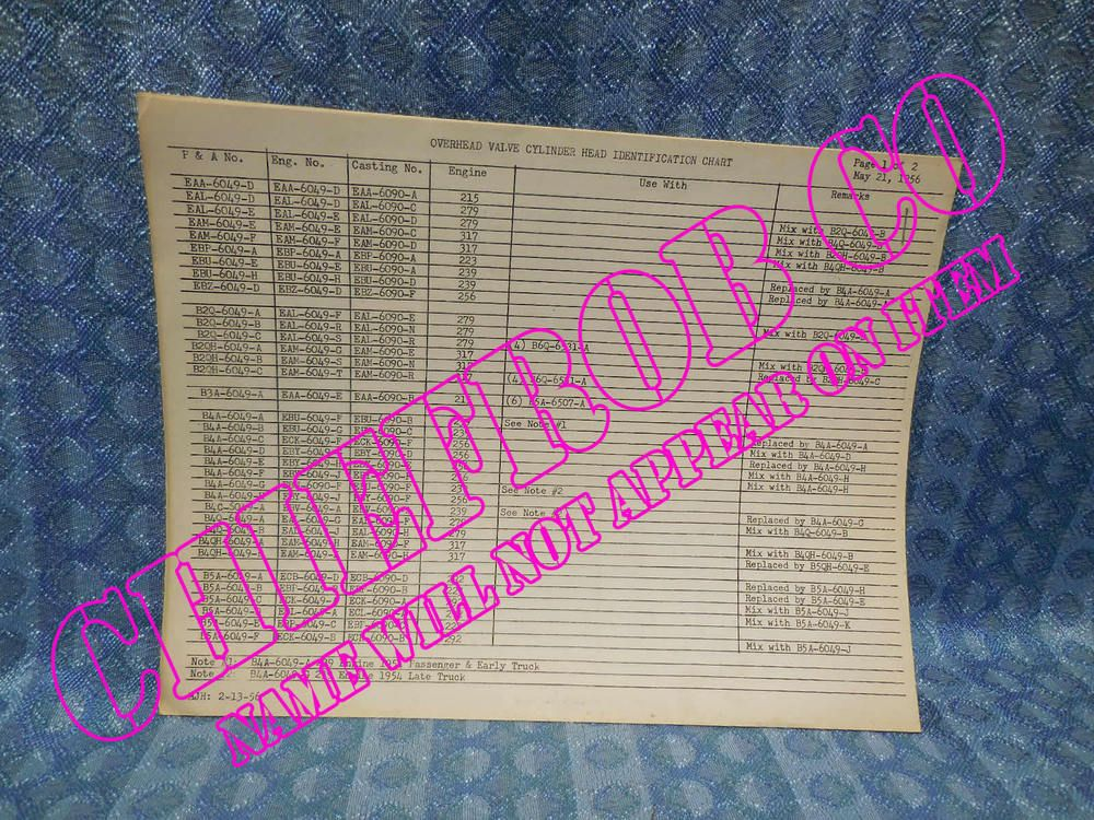 1954 1956 Ford Original Dealer Overhead Valve Cylinder Head Block Id Chart 55 Ford Chart Ebay
