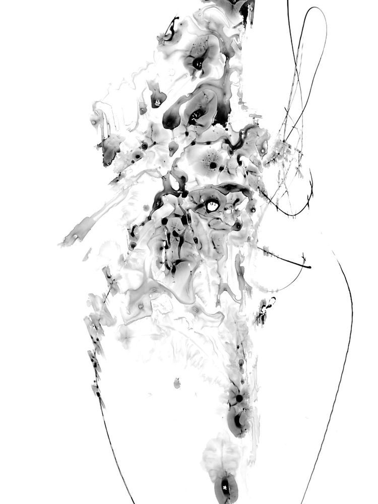 13x19in Zen Watercolor Black Abstract Art Ink Contemporary