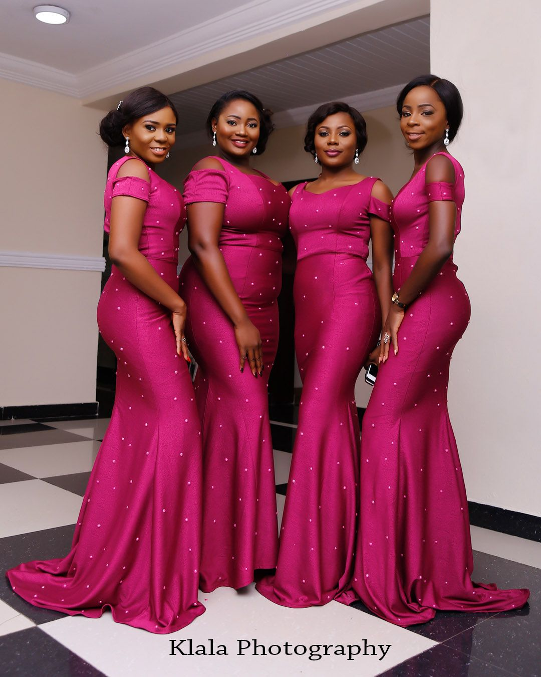 Funke akinyemi a gorgeous nigerian wedding by klala photography african fuchsia mermaid bridesmaid dresses scoop neck floor length sweep train satin long wedding party dresses maid of honor dress ombrellifo Images