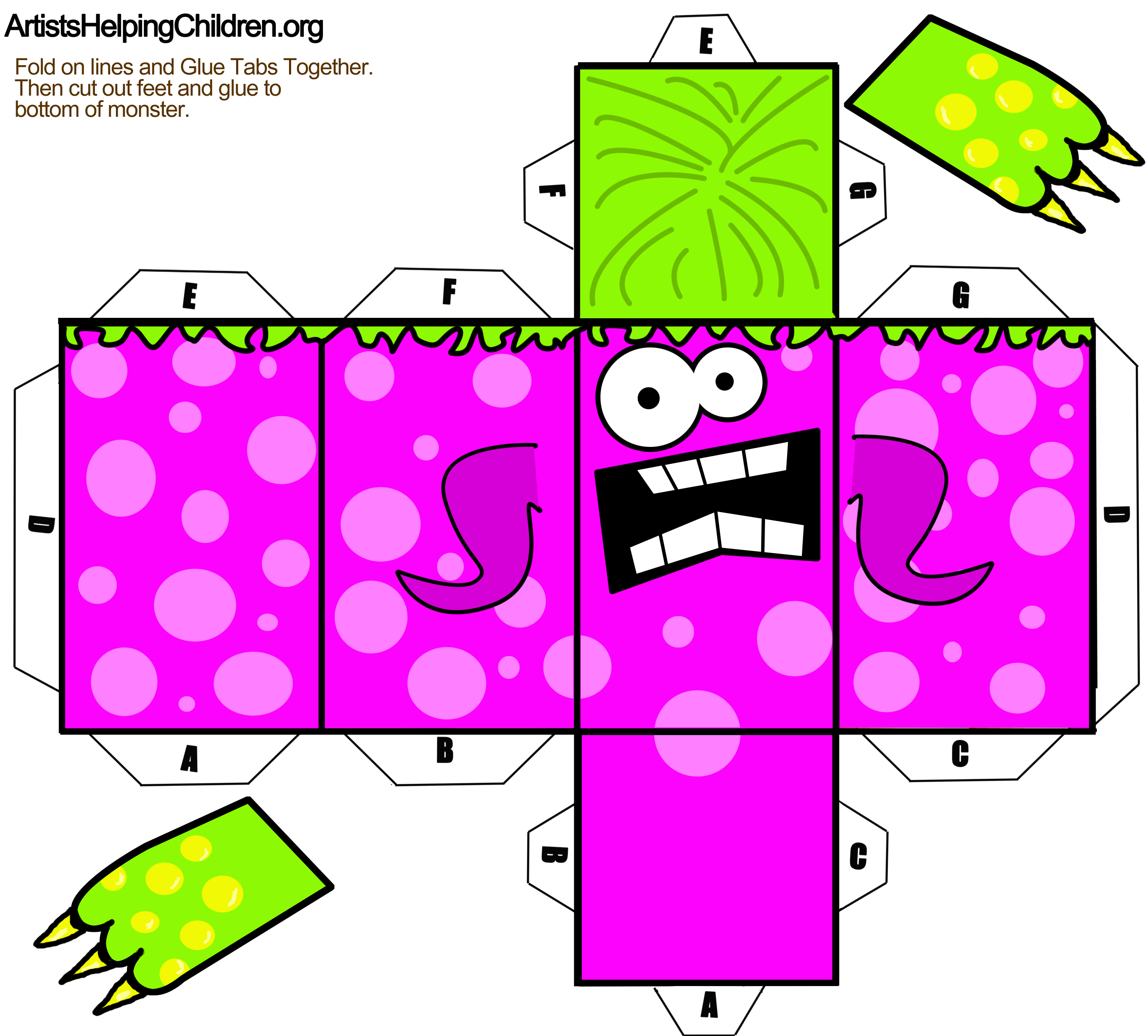 monster-paper-foldable-toy-template.png (2713×2448) | Paper Crafts ...
