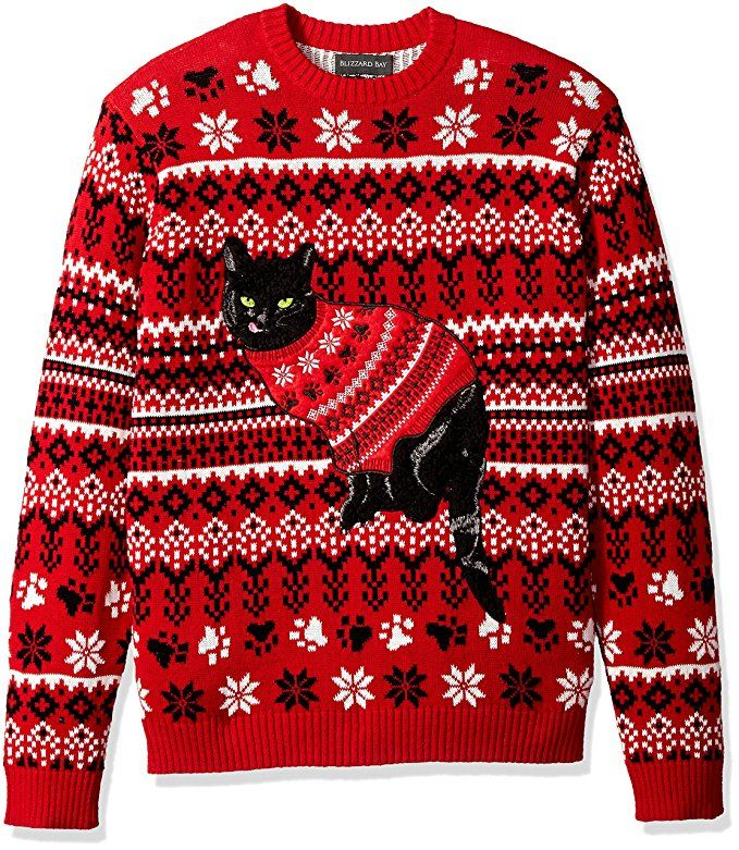 stay classy with this feline inspired big tall ugly christmas sweater with sizes to 5x - Big And Tall Christmas Sweaters