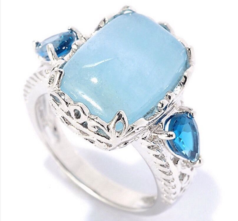 New Gem Treasures® SS 14x10mm Milky Aquamarine London Blue Topaz Ring Size 8 | eBay