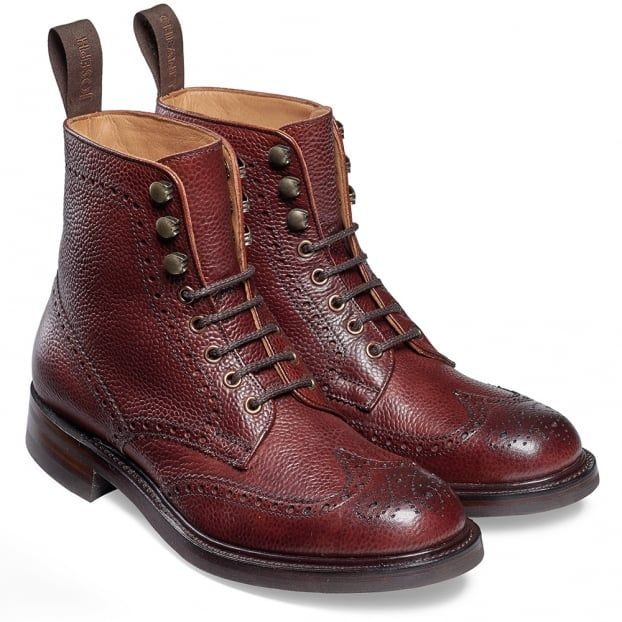 Cheaney Olivia R Ladies Wingap Brogue Country Boot In Burgundy