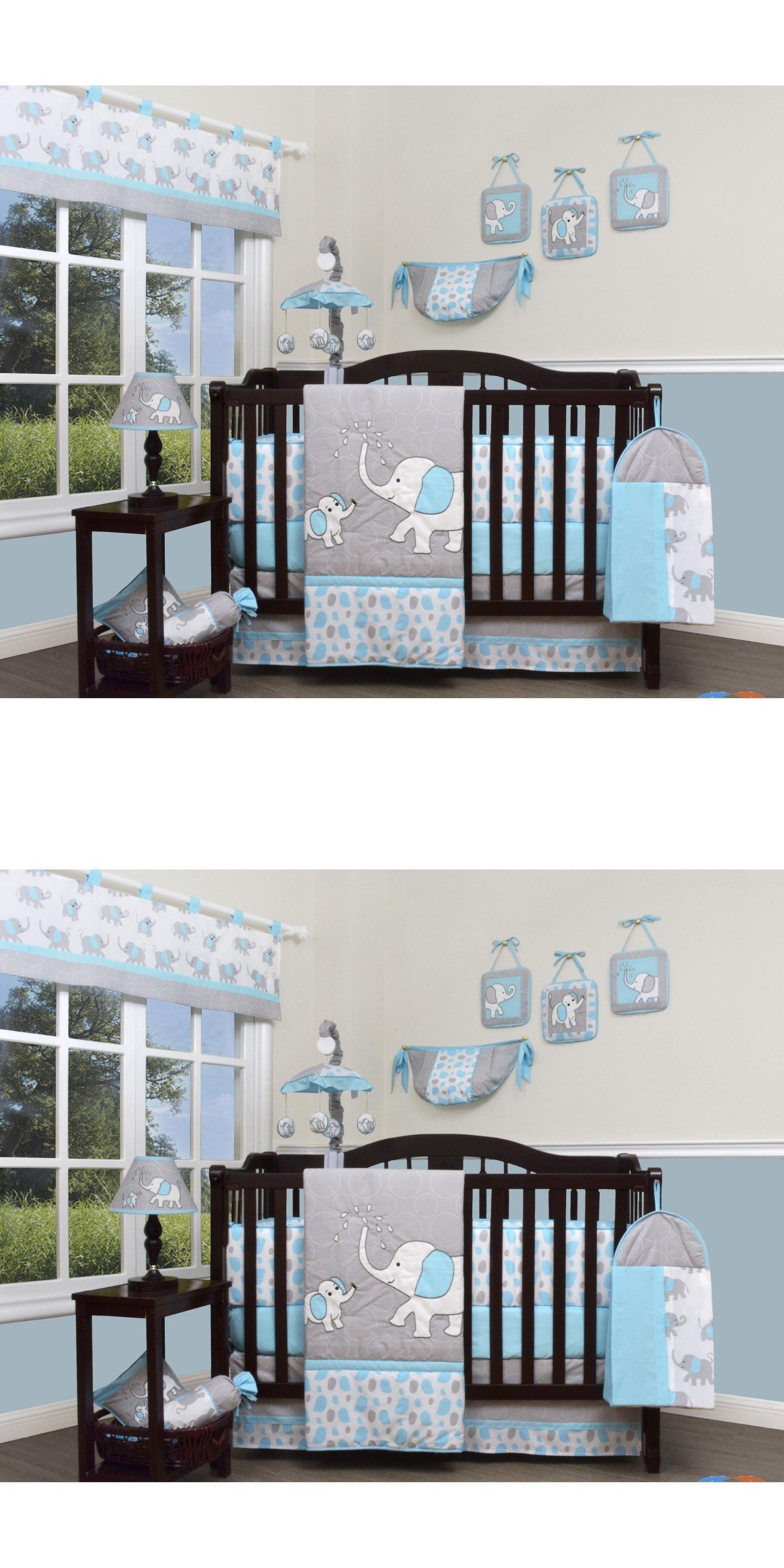 Nursery Bedding Sets 162040 Blue Gray Elephant 13 Pcs Crib Set Baby Boy Quilt Per Diaper It Now Only 138 On Ebay