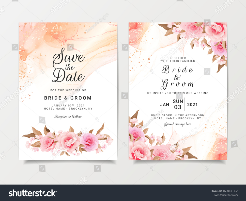Artistic Wedding Invitation Card Template Set Nature Backgrounds Text Artistic Wedding Invitations Wedding Invitation Cards Wedding Invitation Card Template