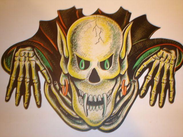 rare old vintage cardboard halloween diecut die cut out beistle vampire rare ebay - Cardboard Halloween Decorations
