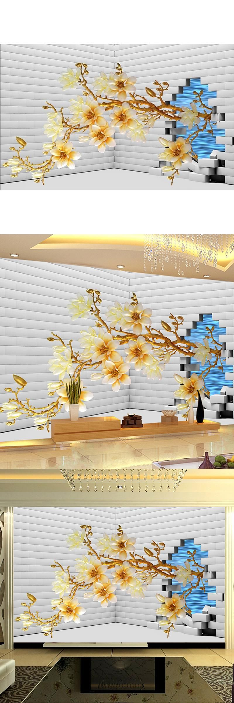 Modern Home Custom 3D Mural wallpaper Sofa Bedroom TV Backdrop Wall ...
