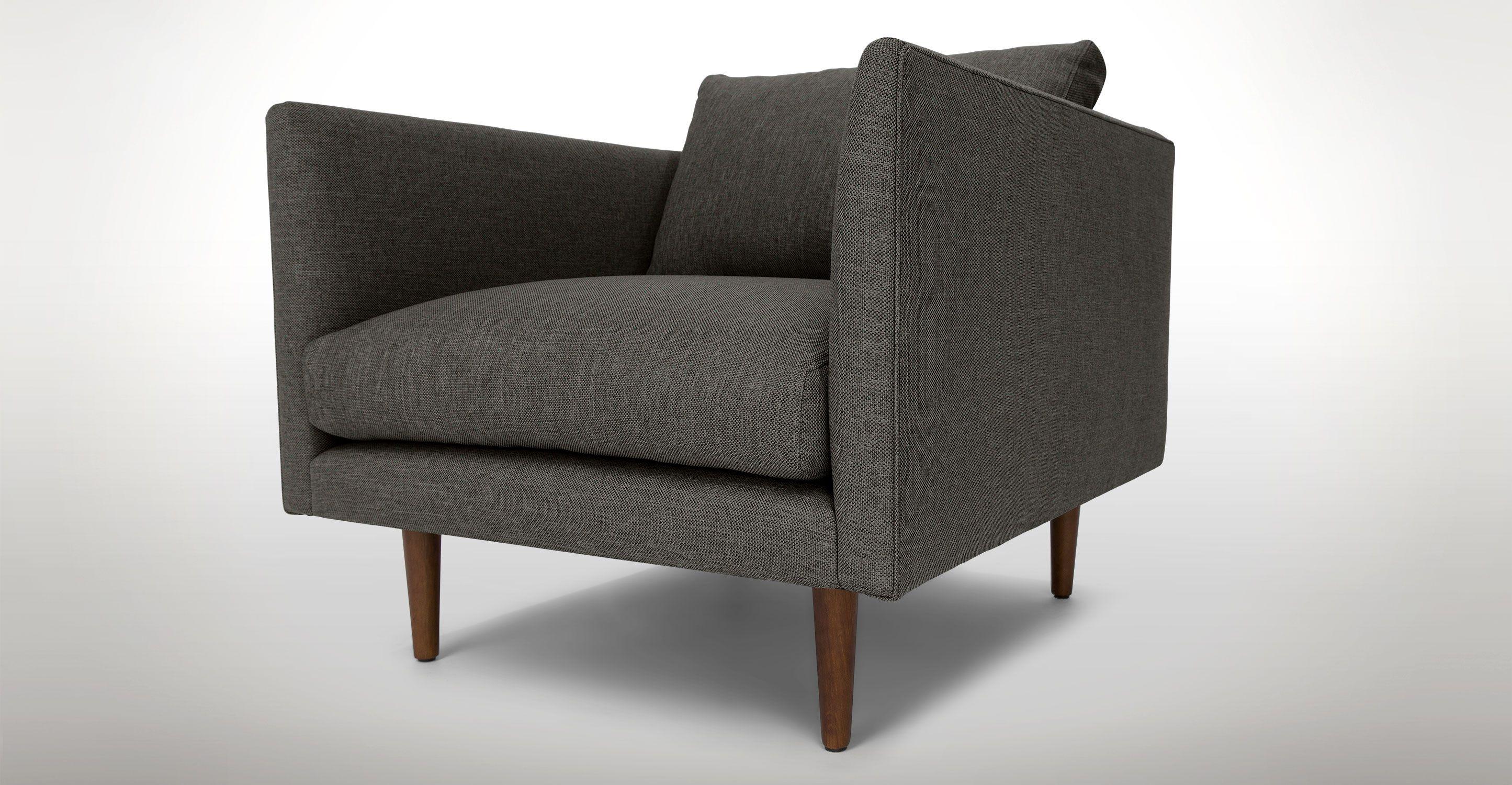 Burrard Graphite Gray Chair Mid century modern lounge