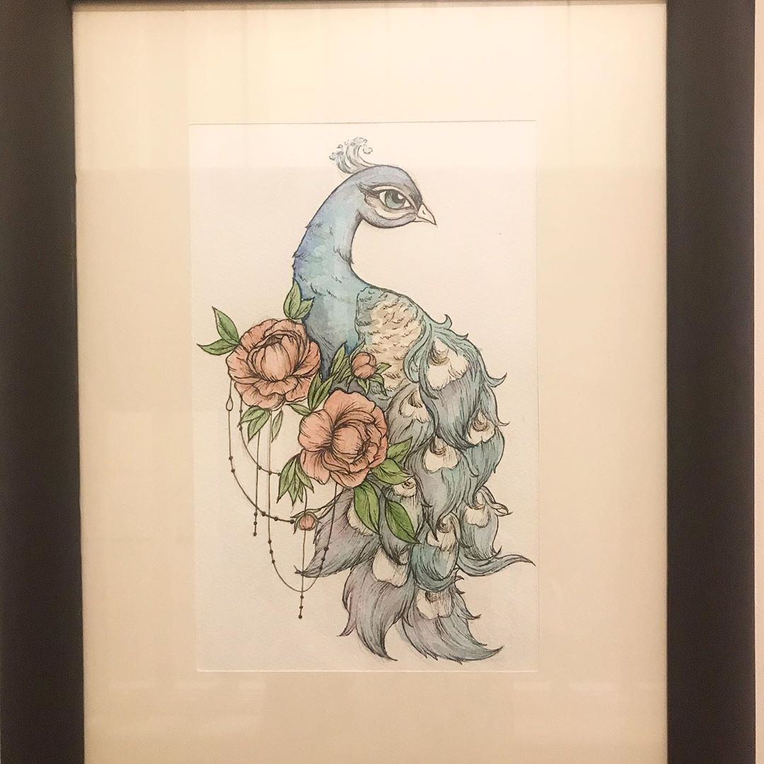 Another stunning watercolour painting by my daughter, filling up the wall nicely.  I've recycled a 15 year old frame with paint from the garage #watercolour #peacock #peony #tattoodesign #art #artistsoninstagram #lockdown #onetaskaday