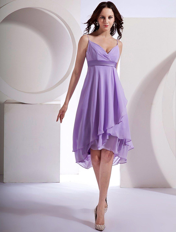 Bridesmaid dress tea length bridesmaid dresses lilac