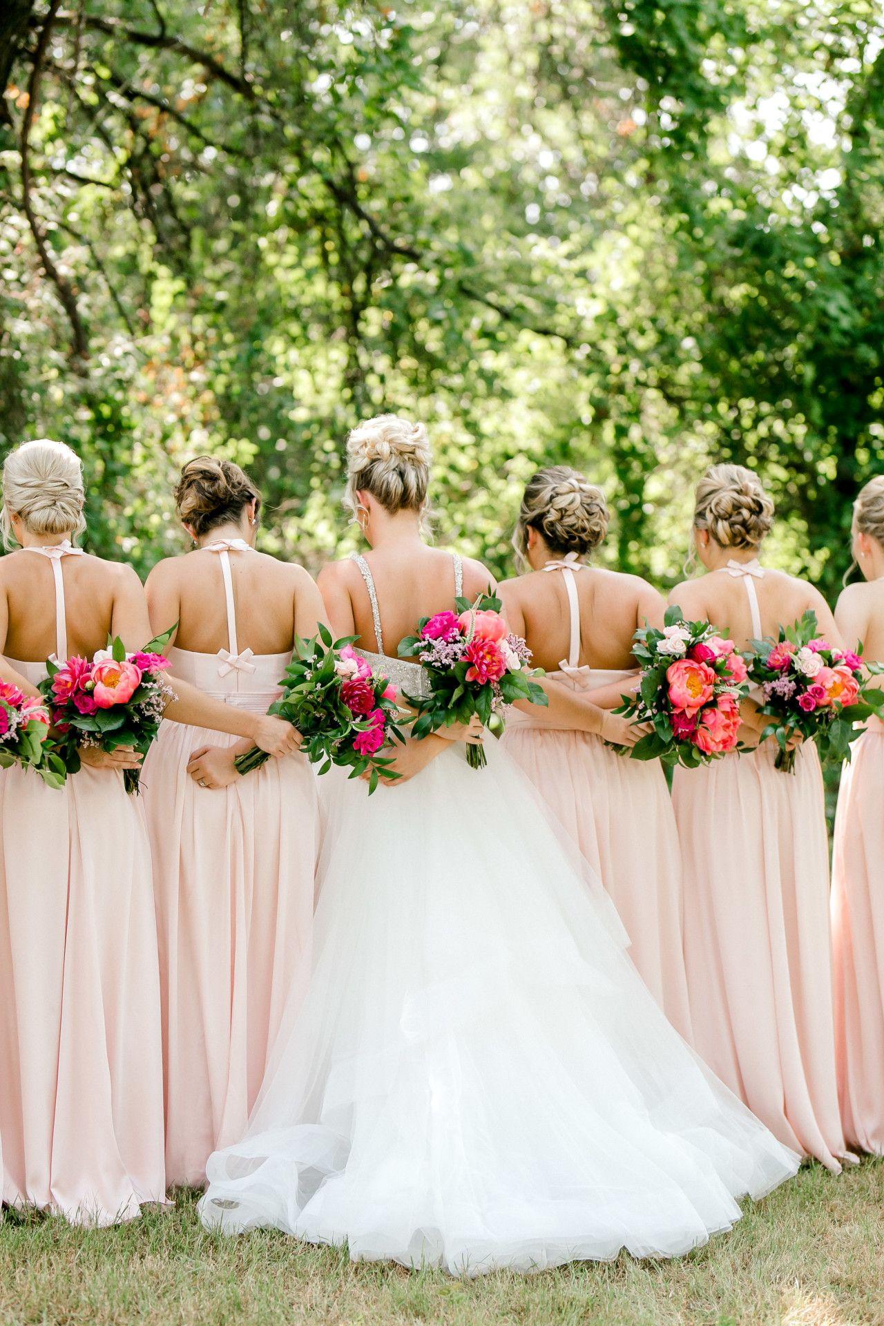 Long blush pink bridesmaid dresses summer wedding bridesmaids