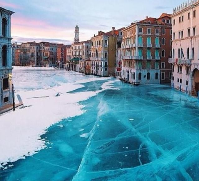 Venice, Italy frozen over! Jan 13, 2017. What is causing this?