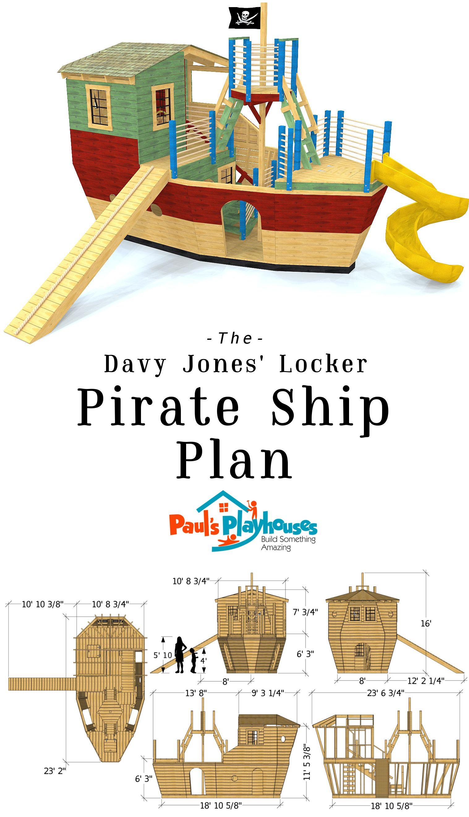 Davy Jones' Locker Pirateship Plan in 2020   Play houses ...