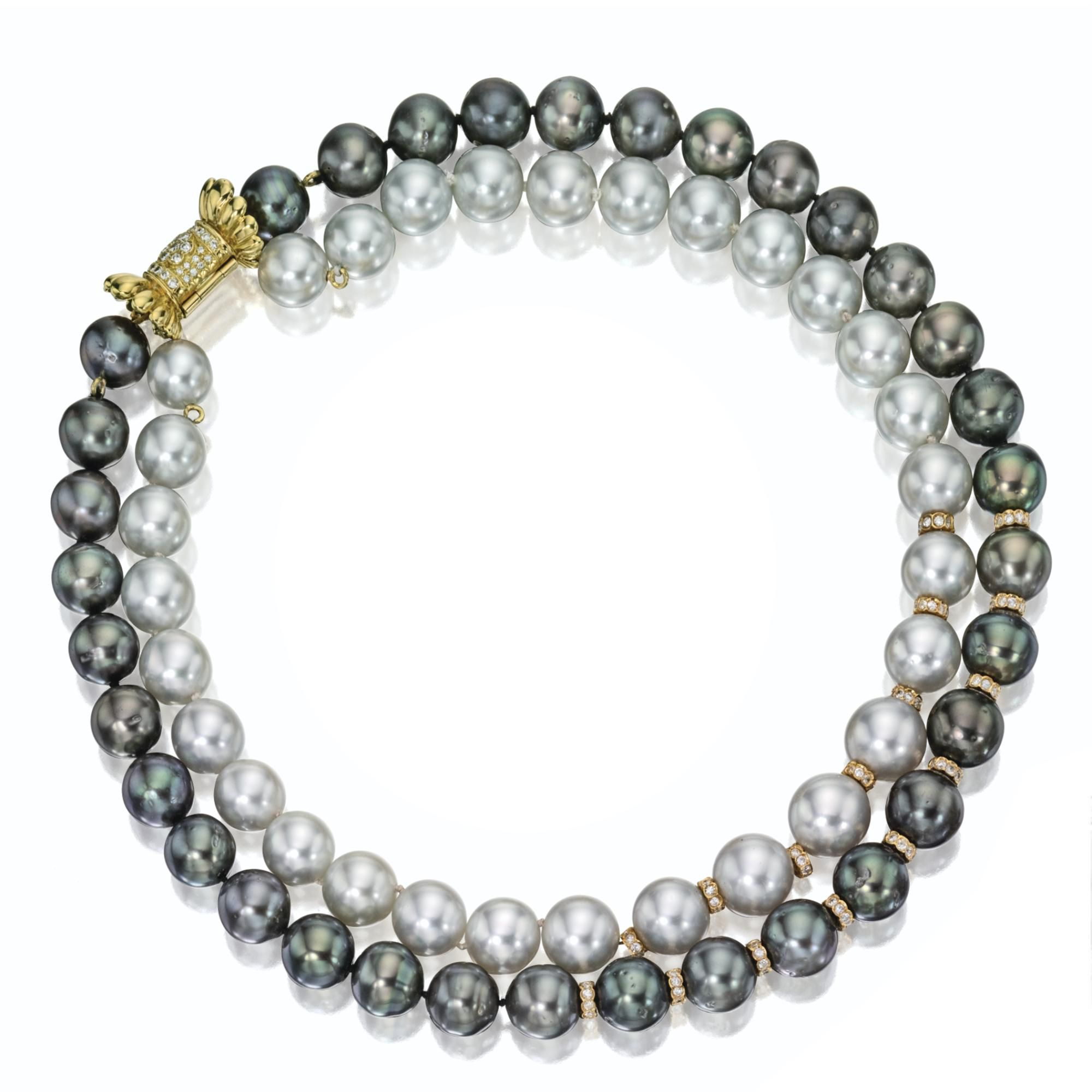 Double-strand cultured pearl and diamond necklace | lot | Sotheby's