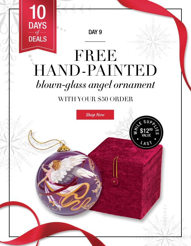 Avon 10 Days of Christmas Deals-Day 9-Free Handpainted Angel Ornament!  www.youbeautifully.com
