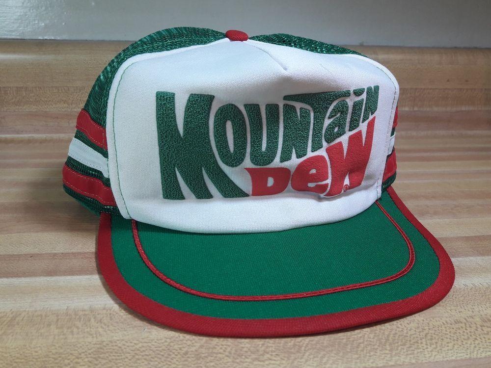 Vintage Mountain Dew 3 Stripe Snapback Mesh Trucker Hat Cap Made in USA EUC   Pepsi  Cap c979989951d