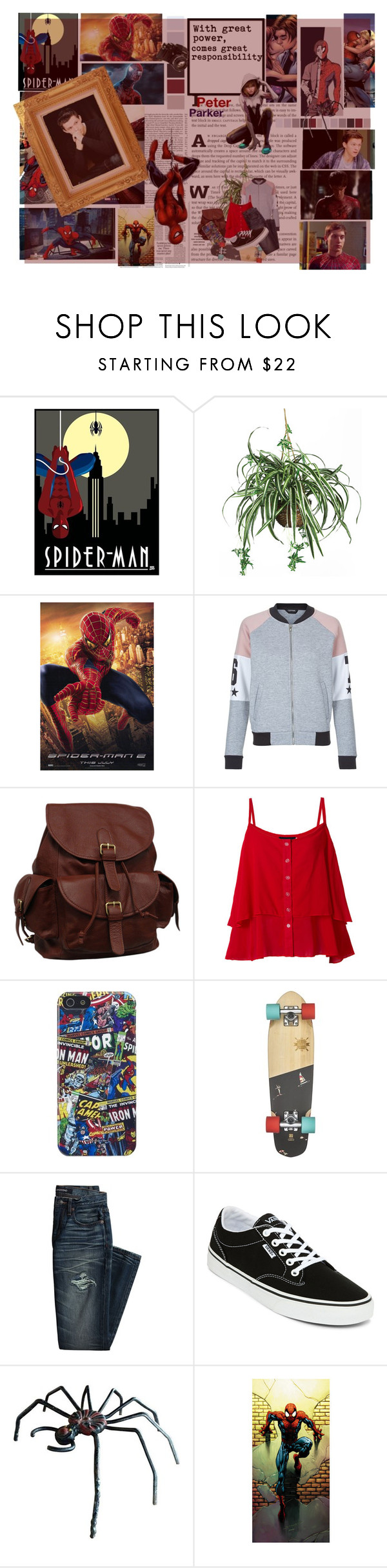 """01. Spiderman"" by buyureyes ❤ liked on Polyvore featuring Marvel, New Look, AmeriLeather, Marvel Comics, Canvas by Lands' End, Vans, Nikon, RoomMates Decor and superheroes"