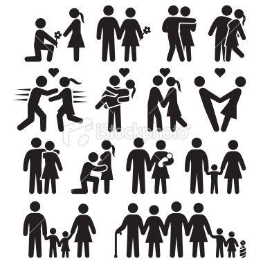 Love And Family Life Black White Icon Set Icon Set Shadow Art