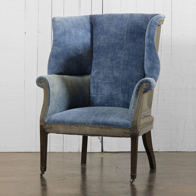 Denim Upholestered Fabulous Denim Ideas Wing Chair