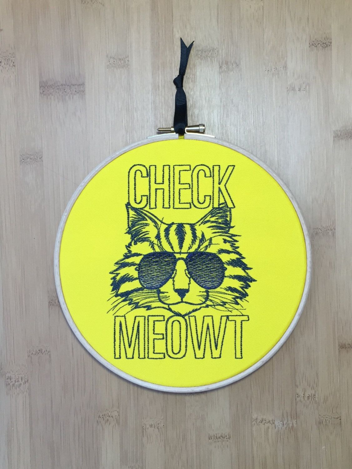 Check meowt embroidery hoop art embroidered cat in sunglasses wall ...
