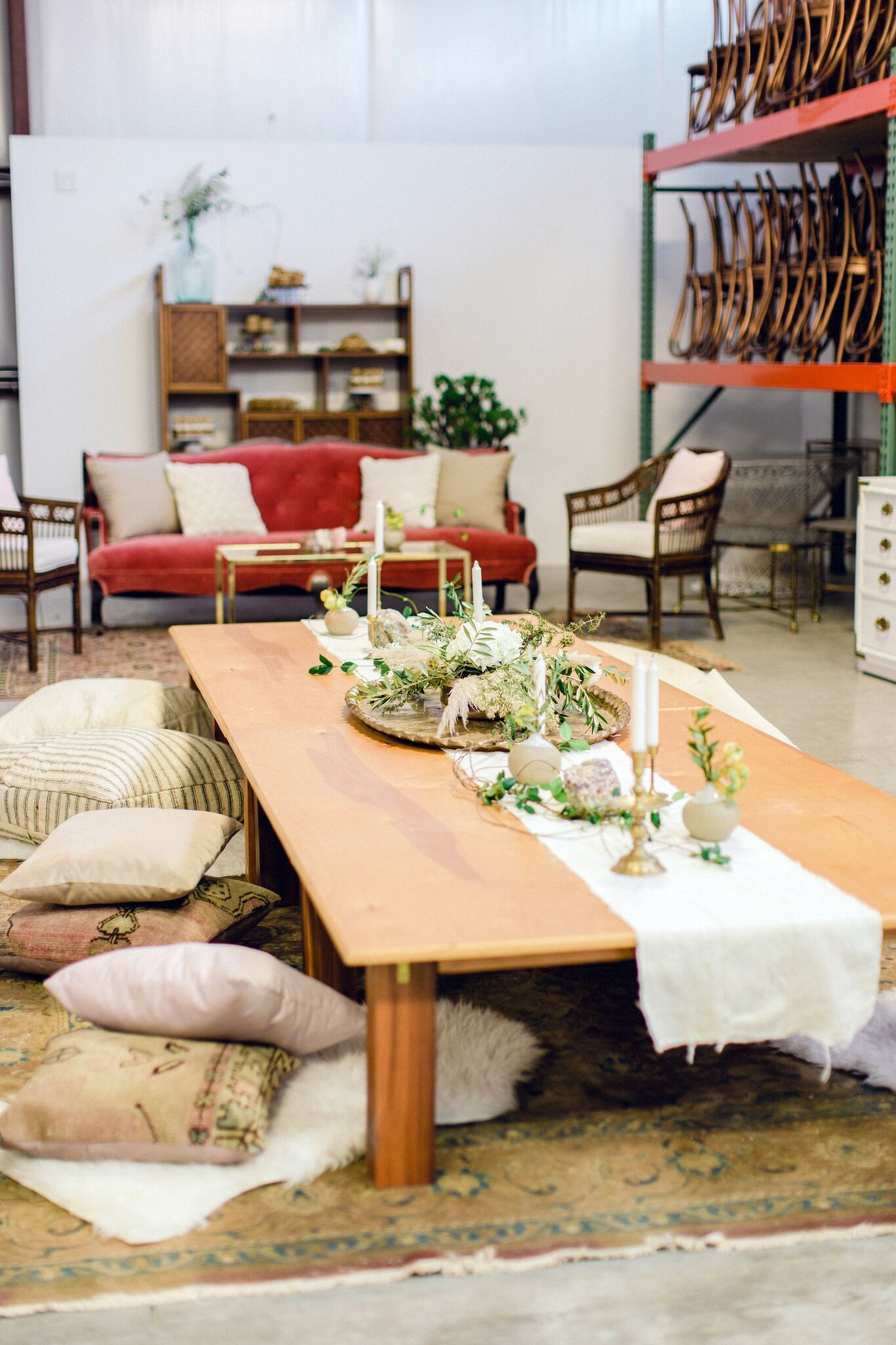 Bohemian Floor Seating With Modern Low Tables And Pink Pillows On A Gray Blue Rug Via Birch Br Vintage Als For Weddings Special Events In