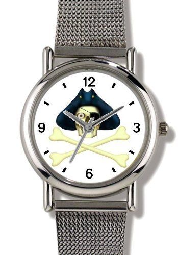 Skull with Eye Patch & Three Corner Hat & Crossed Bones or Cross Bones- Pirate Theme - JP - WATCHBUDDY® ELITE Chrome-Plated Metal Alloy Watch with Metal Mesh Strap-Size-Small ( Children's Size - Boy's Size & Girl's Size ) WatchBuddy. $79.95