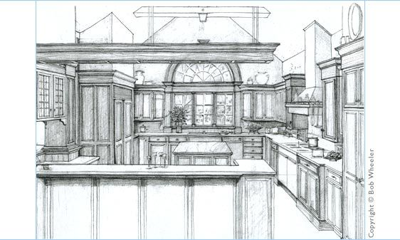 Kitchen Perspective Drawing 2 Point Perspective Kitchen Drawing