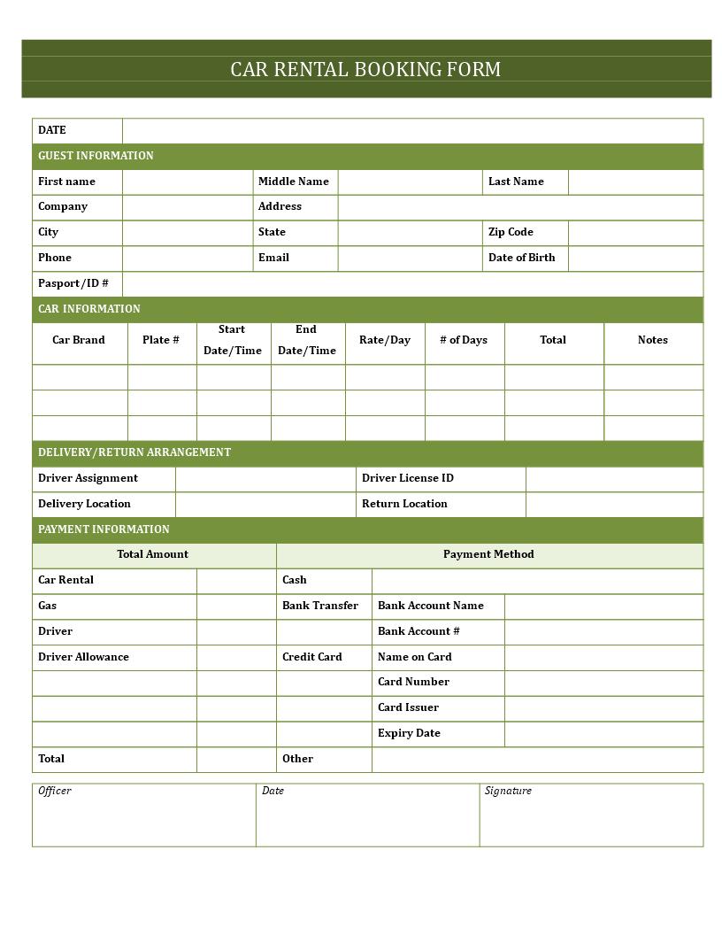 Car Hire Booking Form Car Hire Booking Form Rental Agreement Templates Car Hire Templates
