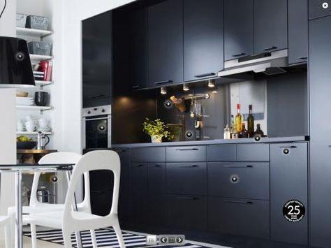 Cuisine Ikea Noir Mat Photo Deco Ikea Kitchen Design Black Ikea Kitchen Ikea Kitchen Cabinets Ideas