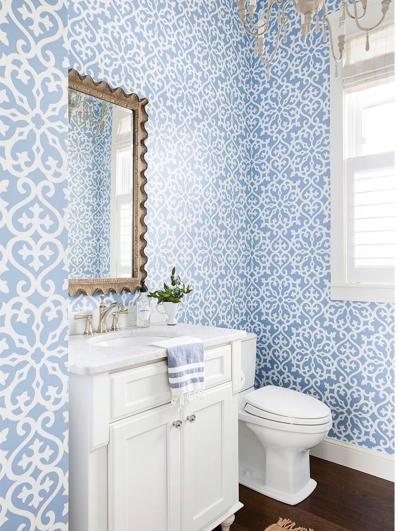 The Lake Elmo House Elegant Bathroom Wallpaper Blue
