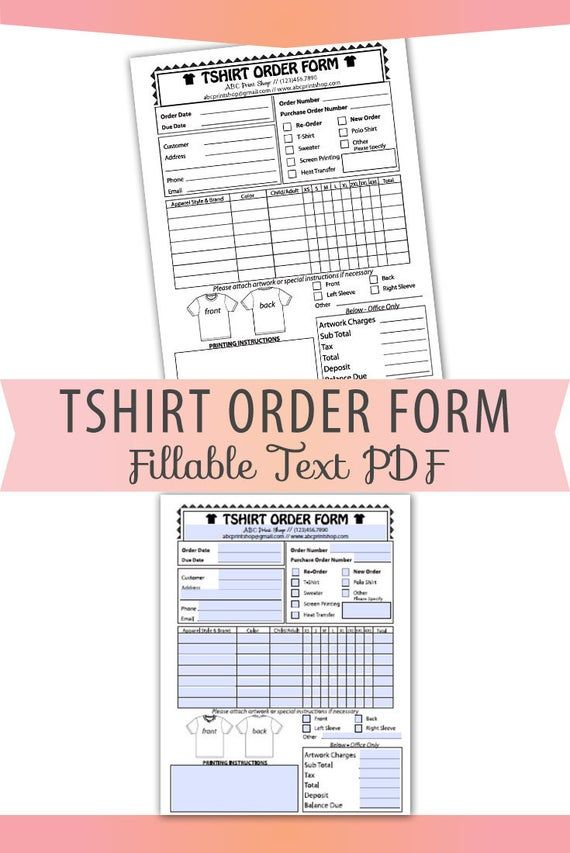 Fillable Editable Text Only Pdf Tshirt Order Form Letter Size Etsy In 2020 Order Form Template Order Form Letter Form