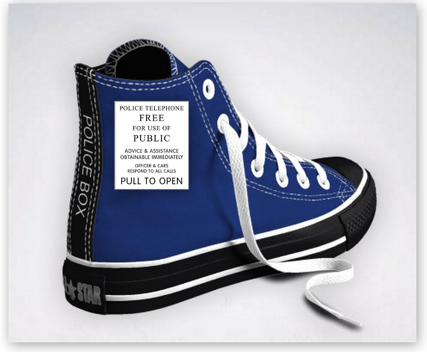 4c7572d0f101 Custom Designed Doctor Who Tardis Inspired Converse Sneakers