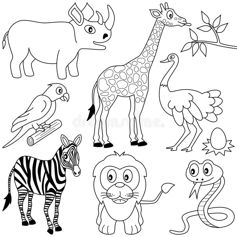 Coloring African Animals 1 Collection Of Seven Funny Cartoon African Animals Ad Cartoon Animal Coloring Pages Zoo Animal Coloring Pages African Animals
