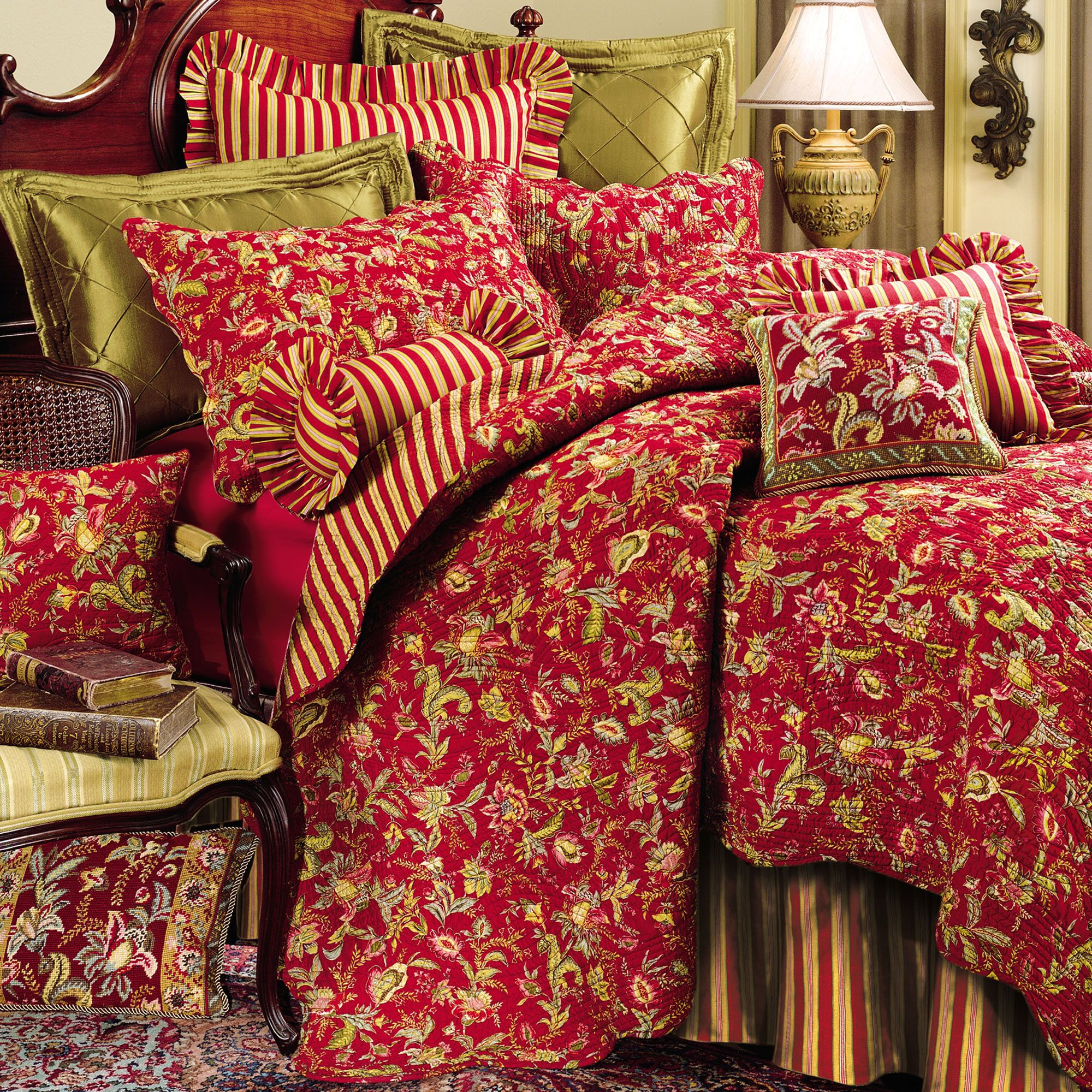 floral comforters | Home > Caspienne Floral Leaf Red Quilt Bedding ... : red quilts bedding - Adamdwight.com