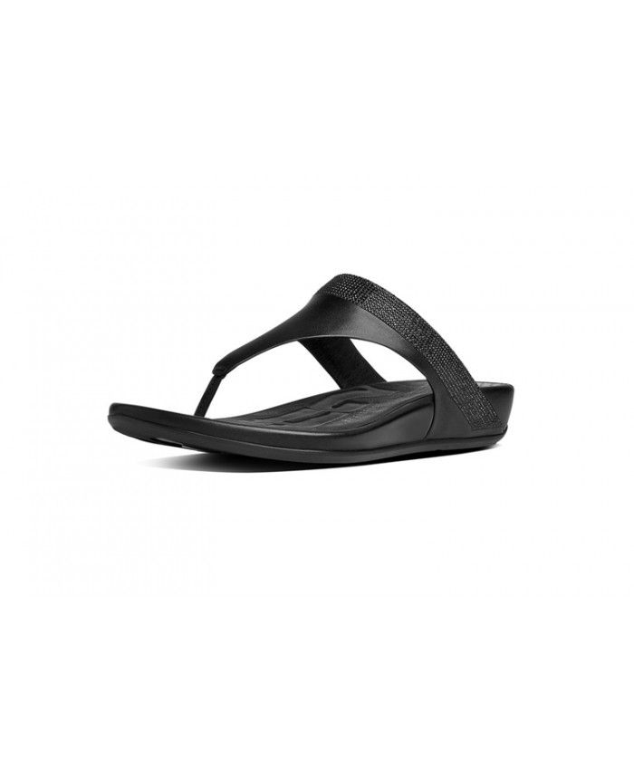 aa93a889b8cc Fitflop Women Banda Micro Crystal Toe Post Leather All Black Sale ...