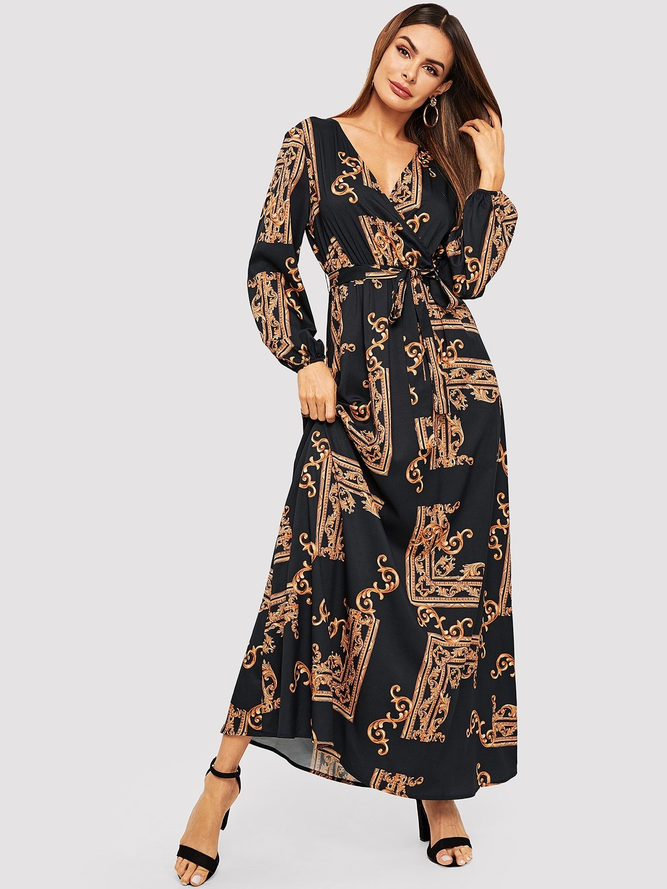 86013d404b7 Casual A Line Fit and Flare V Neck Long Sleeve Natural Multicolor Maxi  Length Scarf Print Belted Maxi Wrap Dress